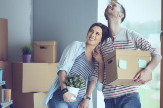 young couple move in after choosing the best moving company
